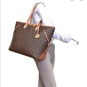 Adrienne Vittadini Laptop Tote Large Bag Brown Tan